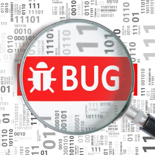 Software development and debugging concept. Bug found in binary code